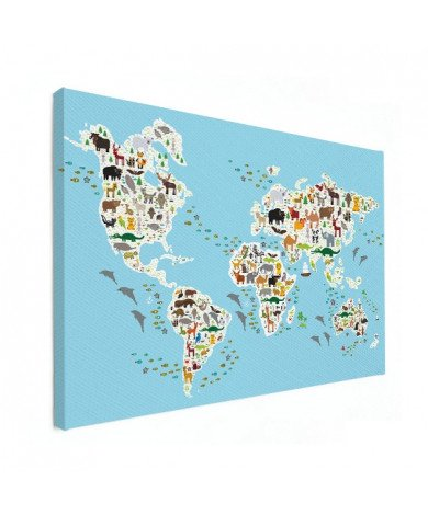 Weltkarte Fauna & Flora Leinwand