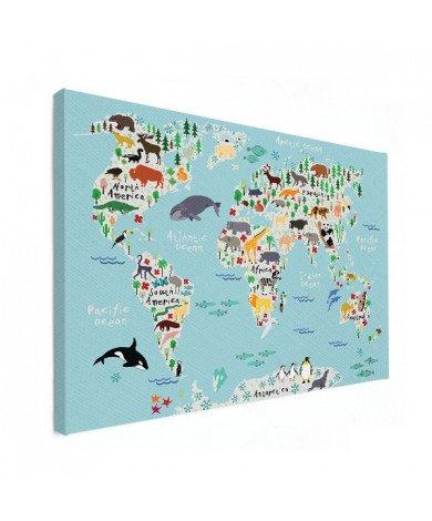 Weltkarte unser Tierreich Poster