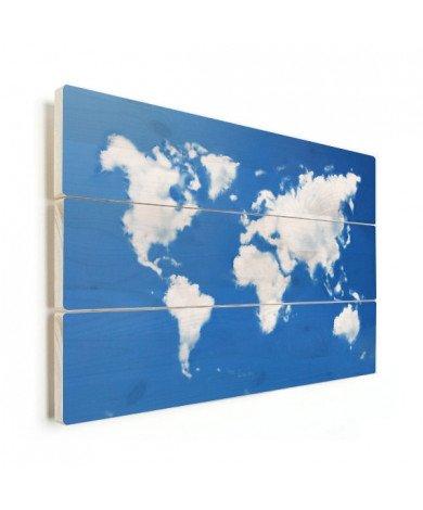 Weltkarte Wolken Holz