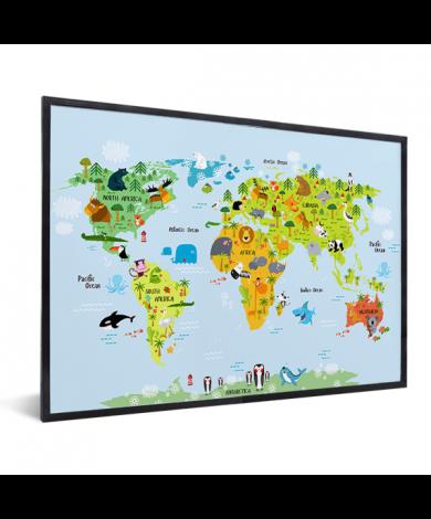 Weltkarte Lustige Tiere im Rahmen