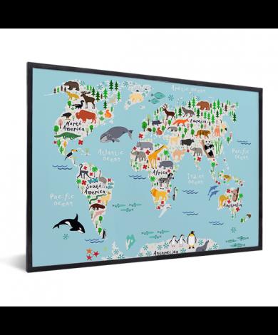 Weltkarte unser Tierreich im Rahmen