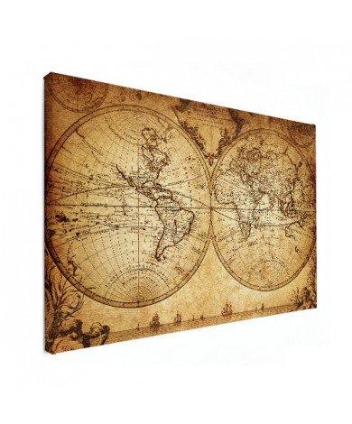 Weltkarte Halbkugeln Leinwand