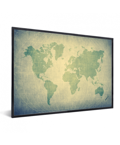 Weltkarte Pergament Grün Blass im Rahmen