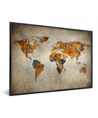 Weltkarte Malerei auf Stein im Rahmen