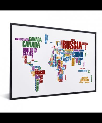 Weltkarte Text bunt im Rahmen