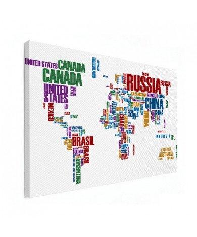 Weltkarte Text bunt Leinwand