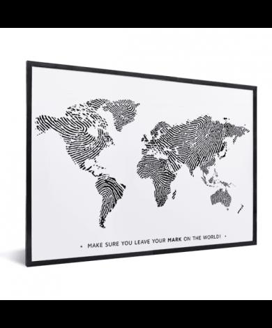Fingerabdruck Weltkarte Schwarz-Weiß mit Text im Rahmen