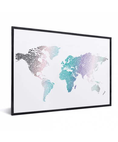 Fingerabdruck Weltkarte Farbig im Rahmen