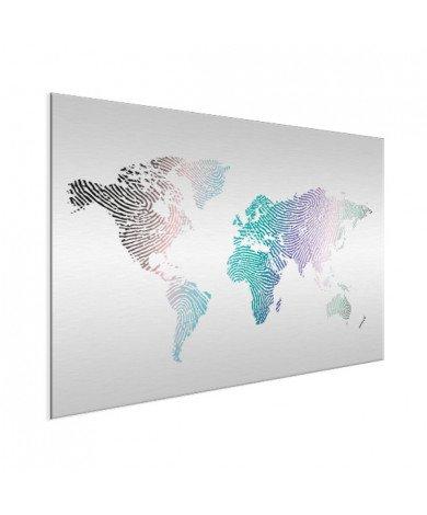 Fingerabdruck Weltkarte Farbig Aluminium
