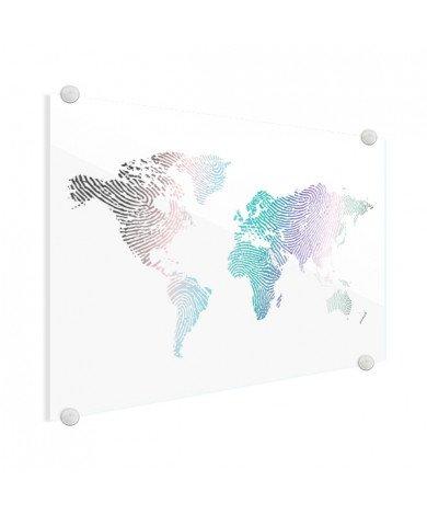 Fingerabdruck Weltkarte Farbig Acrylglas
