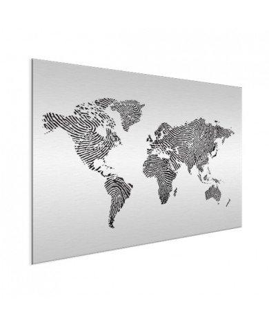 Fingerabdruck Weltkarte Schwarz-Weiß Aluminium