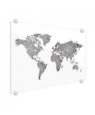 Fingerabdruck Weltkarte Schwarz-Weiß Acrylglas