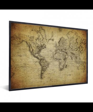 Weltkarte Vintage im Rahmen