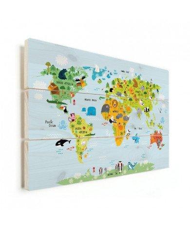 Weltkarte unser Tierreich Holz