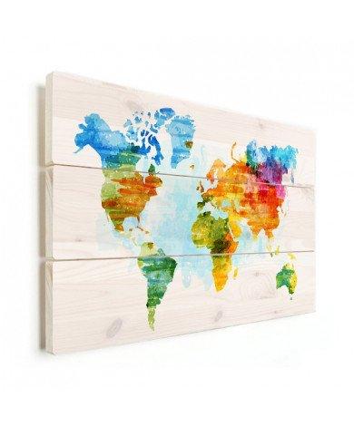 Weltkarte Aquarell bunt Holz