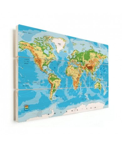 Weltkarte Klassisch Holz