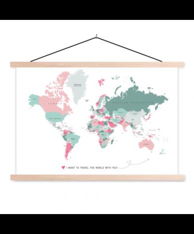 Romantische Weltkarte Textilposter