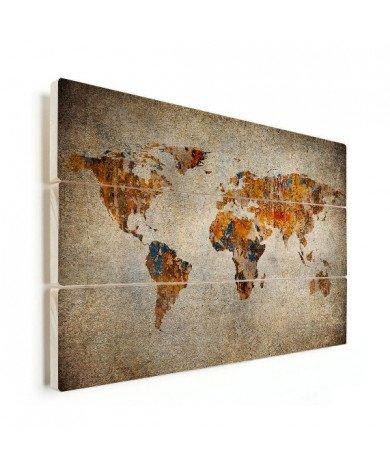 Weltkarte Malerei auf Stein Holz