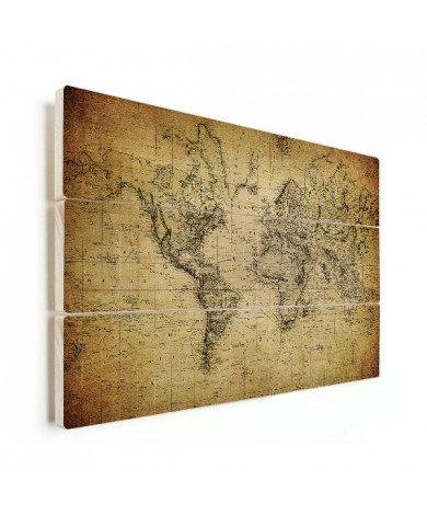 Weltkarte Vintage Holz
