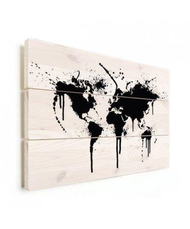 Weltkarte schwarze Tinte Holz