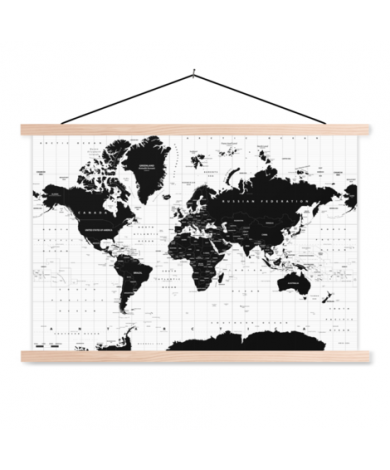 Weltkarte Informativ Textilposter