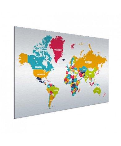 Weltkarte Ländernamen Aluminium