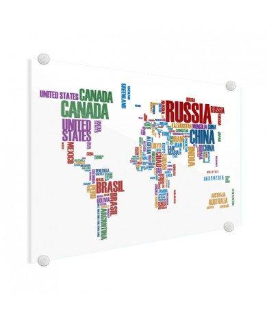 Weltkarte Text bunt Acrylglas