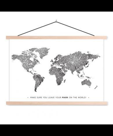 Fingerabdruck Schwarz-Weiß mit Text Textilposter